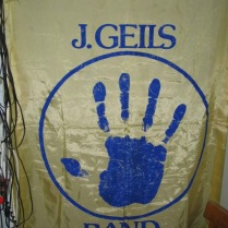 1978 - Gold And Blue 'Sanctuary' Hand-Print Banner