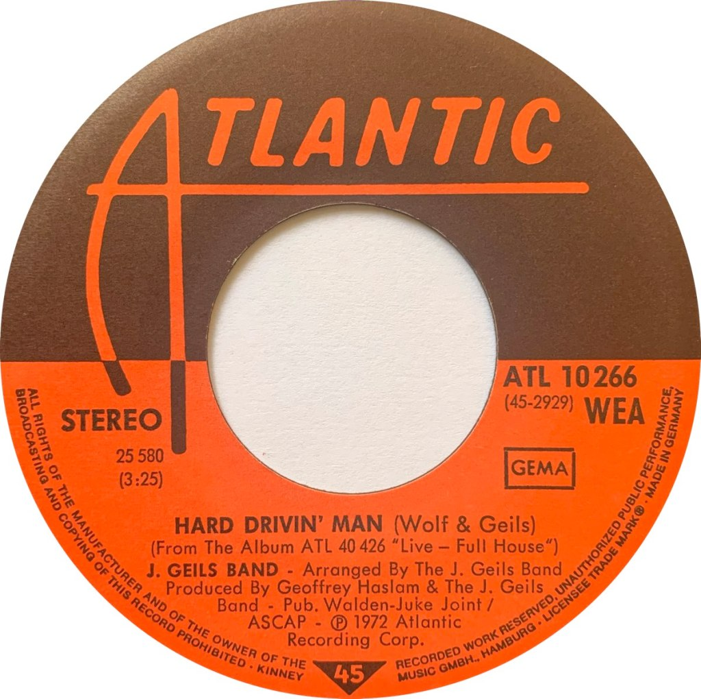 1972 - Hard Drivin' Man (Live) / Whammer Jammer (Live), Germany