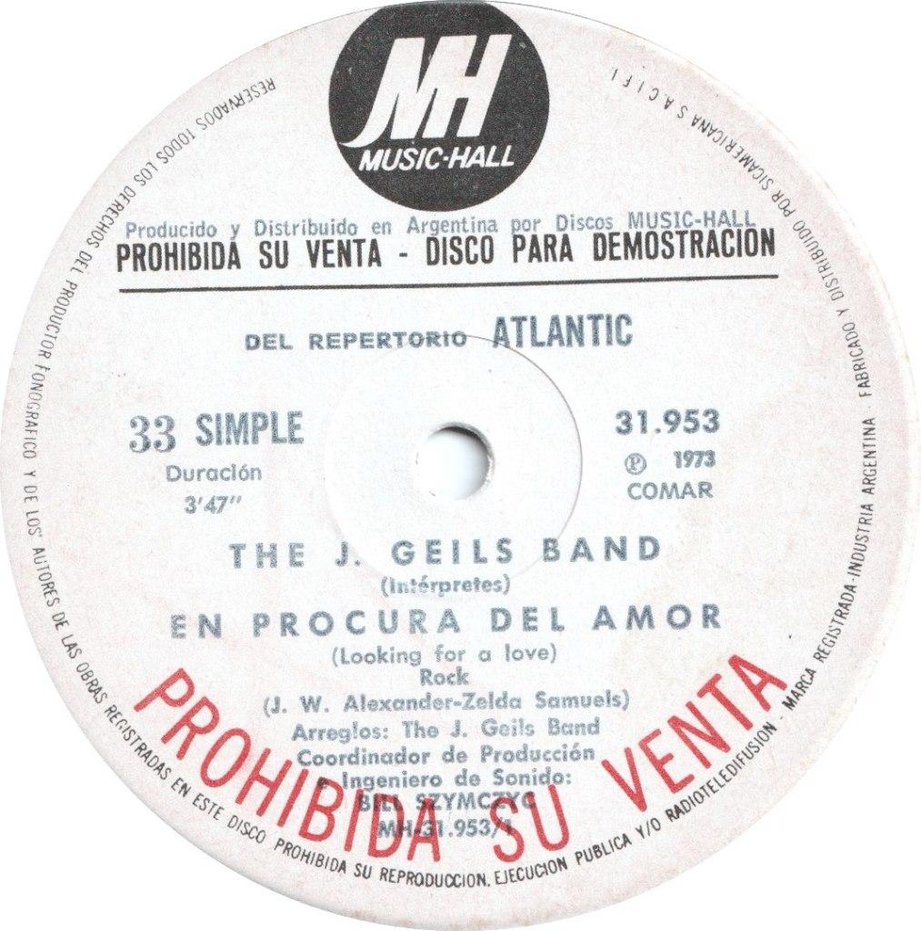 1973 - En Procura Del Amor (Looking For A Love) / Whammer Jammer, Promo (Argentina)